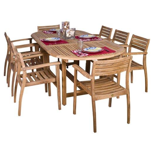 International Home Miami Amazonia Teak 9 Piece Dining Set