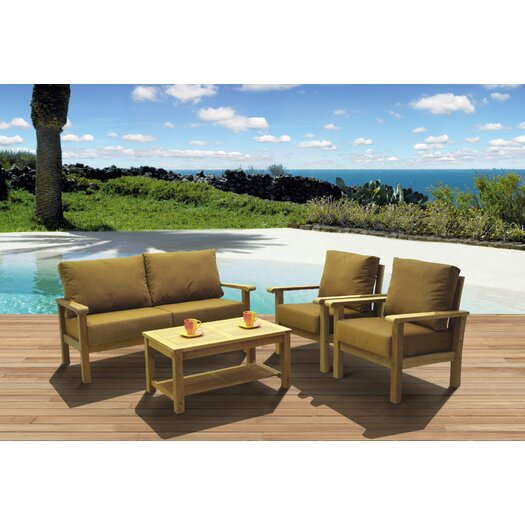 International Home Miami Amazonia Teak San Marcos 4 Piece Deep Seating Group with Cushion