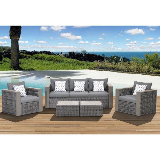 International Home Miami Atlantic Cameron 5 Piece Deep Seating Group with Cushions