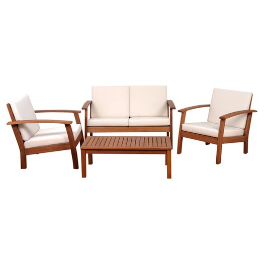 International Home Miami Amazonia Chicago 4 Piece Deep Seating Group with Cushions
