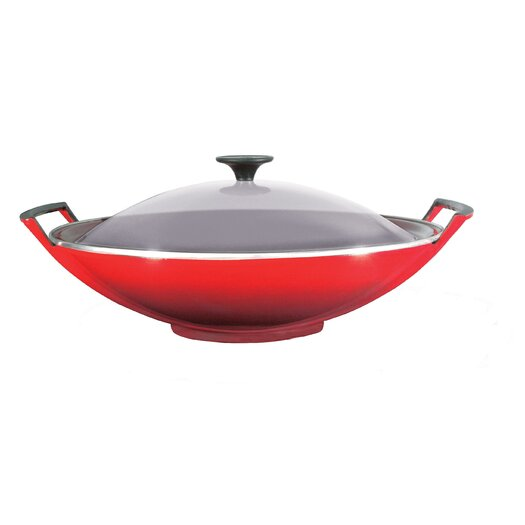 "Le Creuset Cast Iron 14.25"" Wok with Lid"