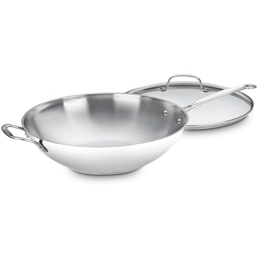 """Cuisinart Chef's Classic Stainless Steel 14"""" Stir Fry Wok with Lid"""