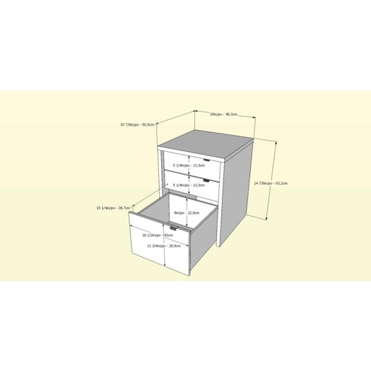 Nexera Liber-T 3 Drawer File Cabinet