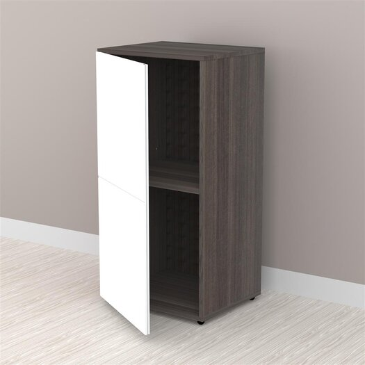 "Nexera Allure 36"" Storage Cabinet in White and Ebony with 1 Door"