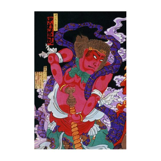 iCanvas Japanese Art Red Man with Kanabo Woodblock Painting Print on Canvas