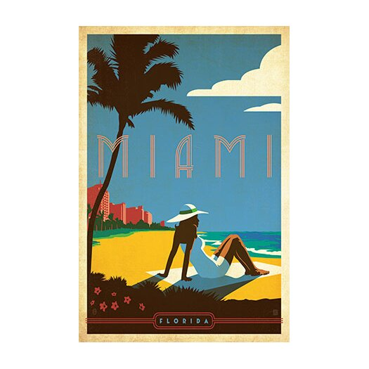 iCanvas 'Miami, Florida' by Anderson Design Group Vintage Advertisment on Canvas