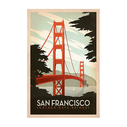 iCanvasArt Golden Gate Bridge - San Francisco, California by Anderson Design Group Vintage Advertisement on Canvas
