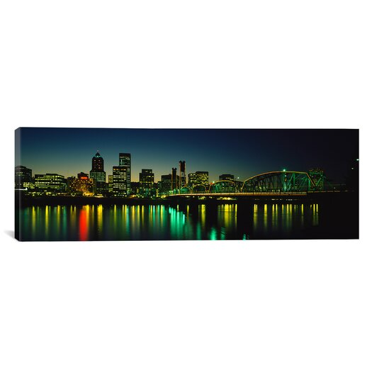 iCanvas Panoramic Buildings Lit Up At Night, Willamette River, Portland, Oregon Photographic Print on Canvas