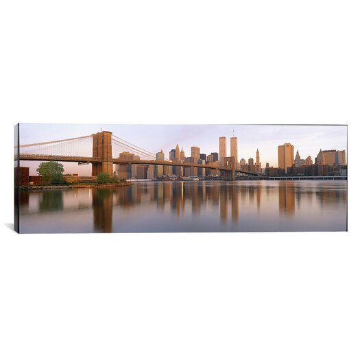 iCanvasArt Panoramic Brooklyn Bridge Manhattan, New York Photographic Print on Canvas