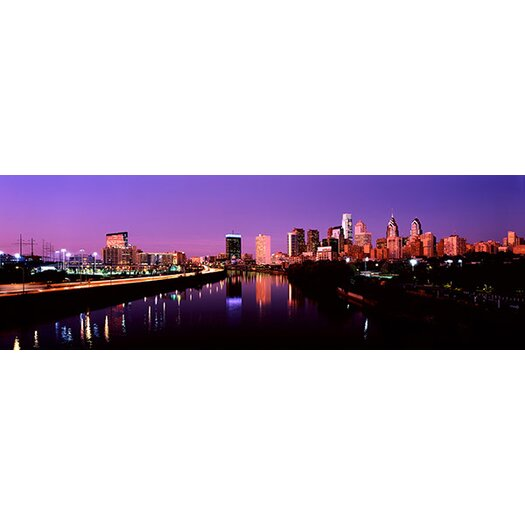 iCanvas Panoramic Buildings Lit up at the Waterfront Schuylkill River, Pennsylvania Photographic Print on Canvas