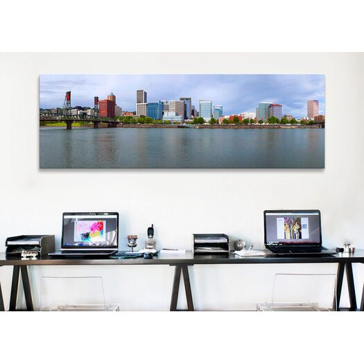 iCanvas Panoramic Hawthorne Bridge Willamette River, 2010 Photographic Print on Canvas