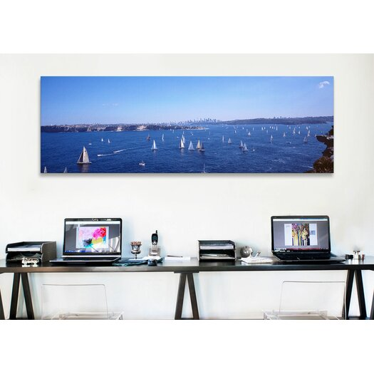 iCanvas Panoramic Yachts in the Bay, Sydney Harbor, Sydney, New South Wales, Australia Photographic Print on Canvas