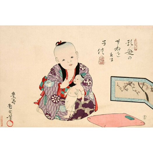 iCanvasArt Child Playing with Doll Japanese Woodblock Graphic Art on Canvas