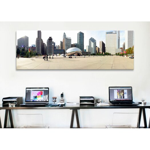 iCanvas Panoramic Buildings in a City, Millennium Park, Chicago, Illinois Photographic Print on Canvas