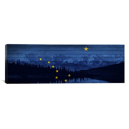 iCanvas Alaska Flag, Mountain Range, Boards Grunge Graphic Art on Canvas