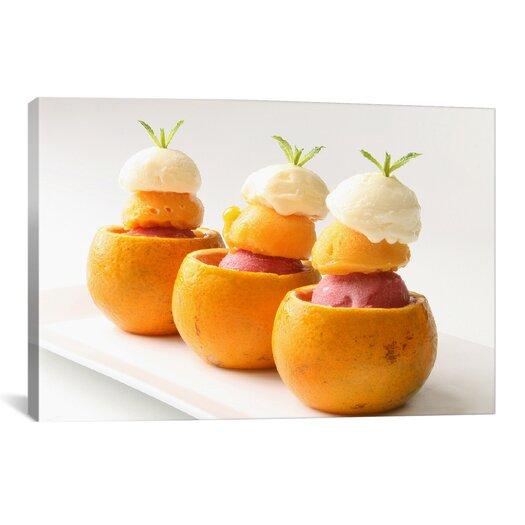 iCanvas Ice Cream Balls Inside Oranges Photographic Canvas Wall Art