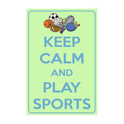 iCanvasArt Keep Calm and Play Sports Textual Art on Canvas