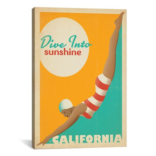 iCanvasArt 'Dive into Sunshine - California' by Anderson Design Group Vintage Advertisement on Canvas