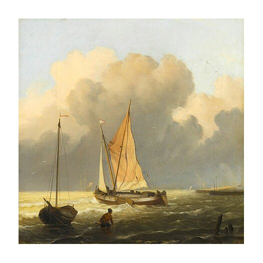 "iCanvas ""Coastal Scene with a Tjalk"" Canvas Wall Art by Ludolf Backhuyzen"