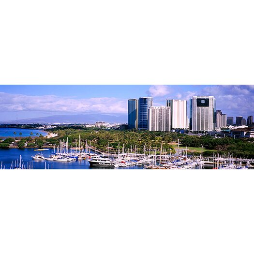 iCanvas Panoramic High Angle View of Boats, Ala Wai, Honolulu, Hawaii Photographic Print on Canvas