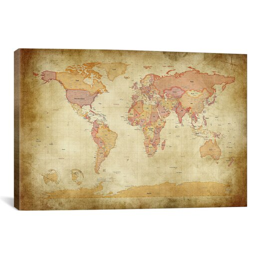 iCanvas 'Map of The World II' by Michael Tompsett Graphic Art on Canvas