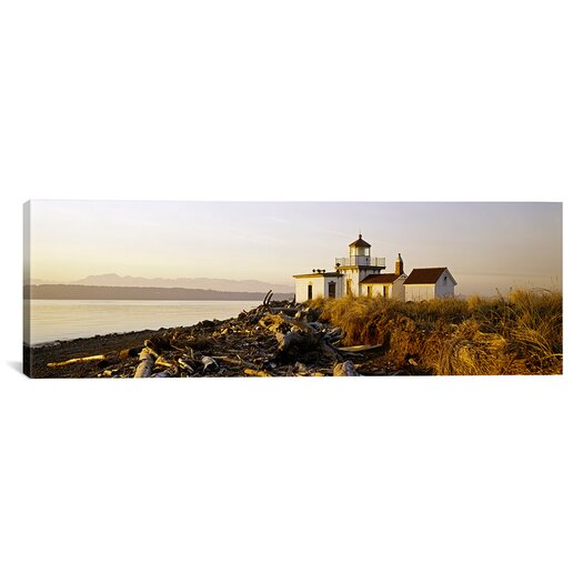 iCanvas Panoramic West Point Lighthouse, Seattle, Washington State Photographic Print on Canvas