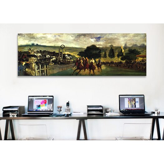 iCanvas Historical Fine 'Races at Longchamp' by Edouard Manet Painting Print on Canvas