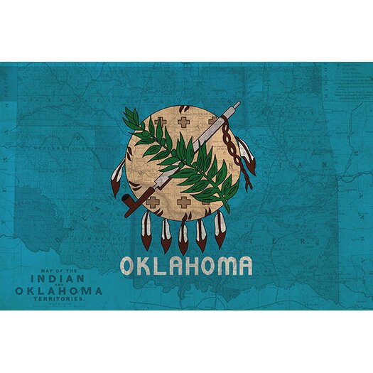 iCanvas Flags Oklahoma Map Graphic Art on Canvas