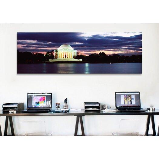 iCanvas Panoramic Monument Lit Up at Dusk, Jefferson Memorial, Washington, D.C Photographic Print on Canvas