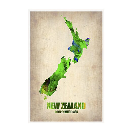 iCanvas 'New Zealand Watercolor Map' by Naxart Graphic Art on Canvas