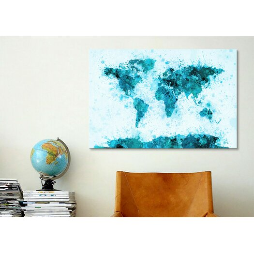 iCanvasArt World Map Splashes by Michael Tompsett Painting Print on Canvas in Blue
