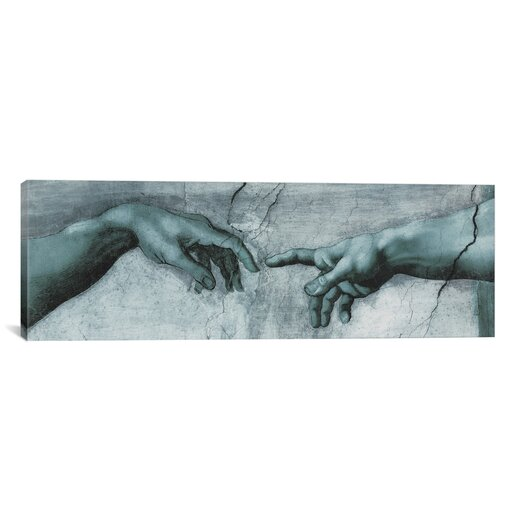 iCanvas 'The Creation of Adam IV Panoramic' by Michelangelo Painting Print on Canvas