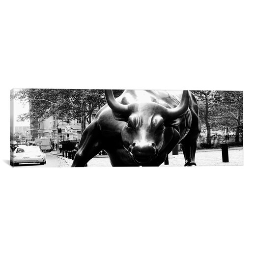 iCanvas Political 'Wall Street Bull Close-up Panoramic' Photographic Print on Canvas