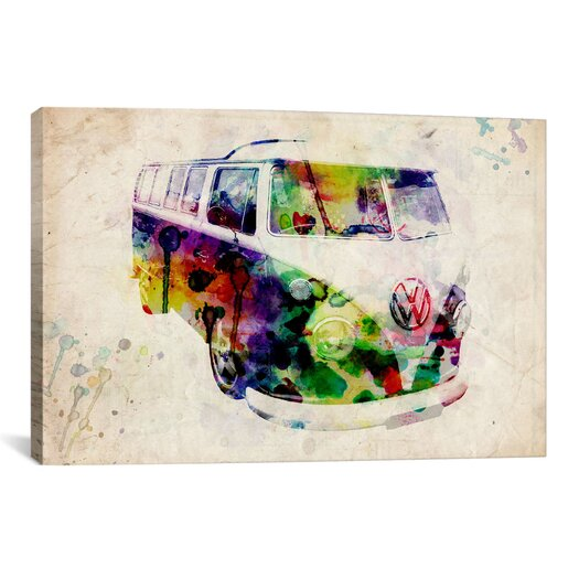 iCanvasArt 'VW Camper Van (Urban)' by Michael Tompsett Graphic Art on Canvas