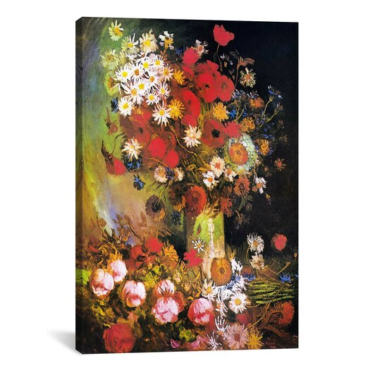 iCanvas 'Vase with Cornflowers and Poppies, Peonies and Chrysanthemums' by Vincent Van Gogh Painting Print on Canvas