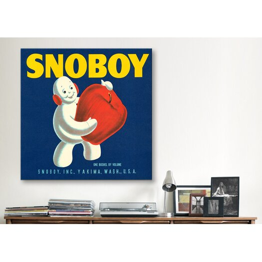 iCanvasArt Snoboy Apples Vintage Crate Label Canvas Wall Art