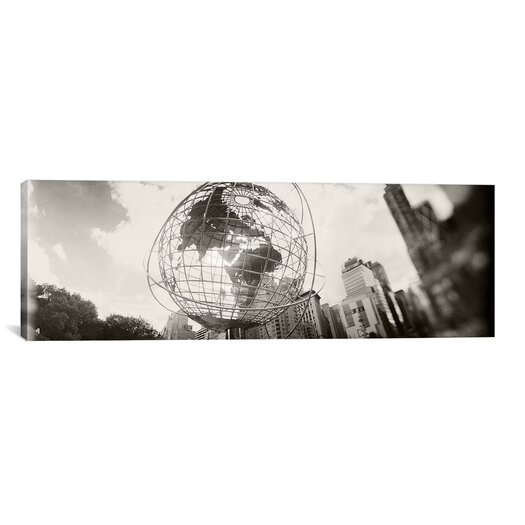 iCanvas Panoramic 'Steel Globe, Columbus Circle, Manhattan, New York City' Photographic Print on Canvas