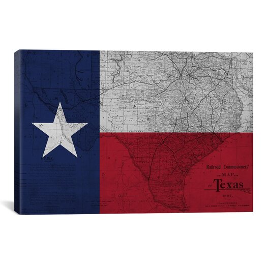 iCanvasArt Flags Texas Map Graphic Art on Canvas