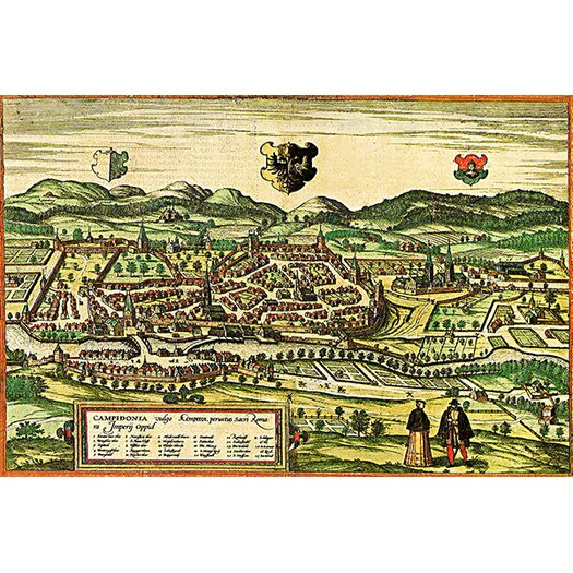 iCanvas Antique Map of Kempten (1572) by Georg Braun and Franz Hogenberg Graphic Art on Canvas in Color