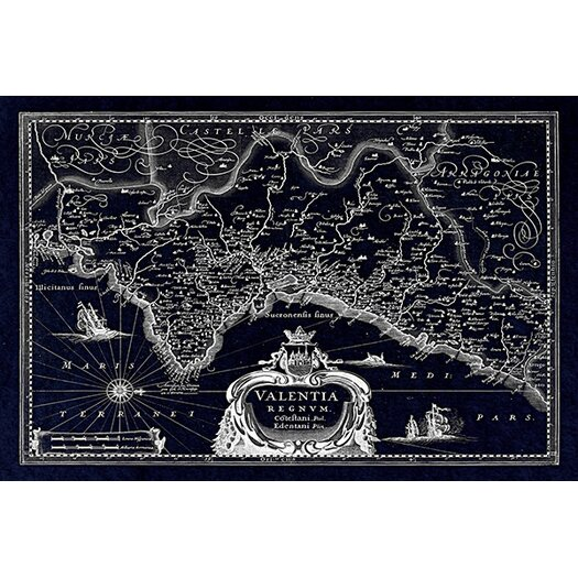iCanvas Antique Map of the Valentia Kingdom (1634) by G and J Blaeu Graphic Art on Canvas in Negative