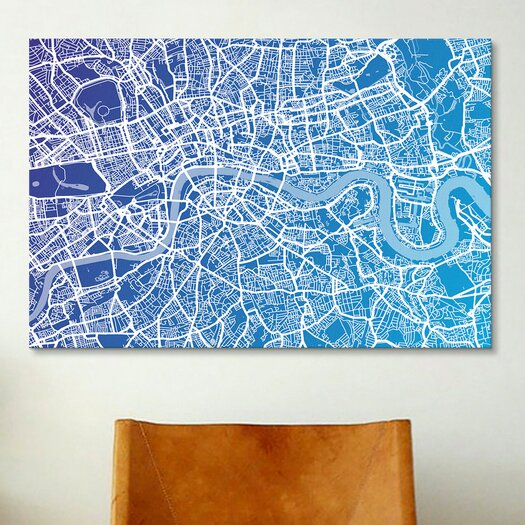 iCanvas 'London Street Map (Blue II)' by Michael Tompsett Graphic Art on Canvas