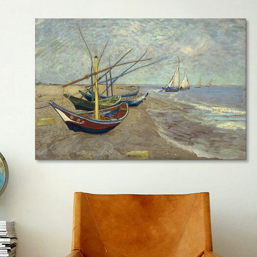 iCanvas Fishing Boats on the Beach at Les Saintes Maries de la Mer by Vincent van Gogh Painting Print on Canvas