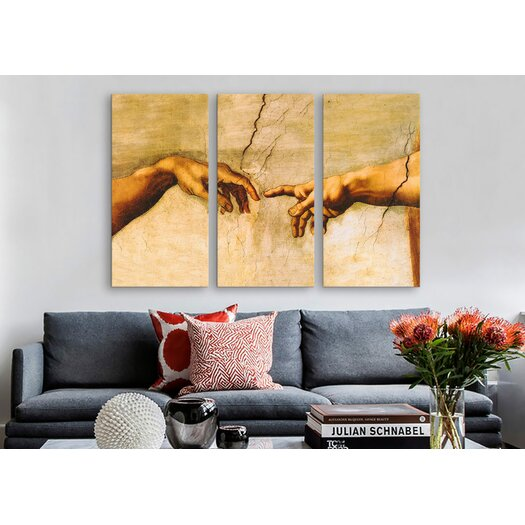iCanvas Michelangelo di Lodovico Buonarroti Simoni The Creation of Adam 3 Piece on Canvas Set