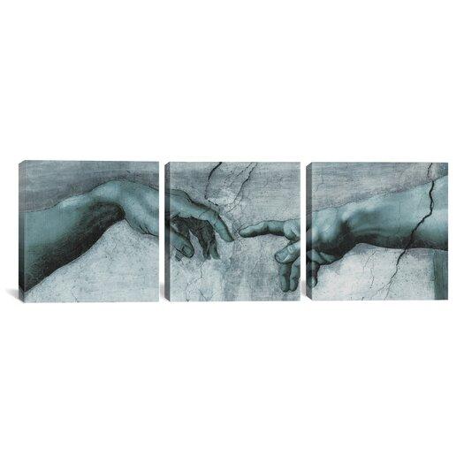 iCanvas Michelangelo di Lodovico Buonarroti Simoni The Creation of Adam IV 3 Piece on Canvas Set