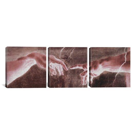 iCanvas Michelangelo The Creation of Adam VI Di Lodovico Buonarroti Simoni 3 Piece on Canvas Set