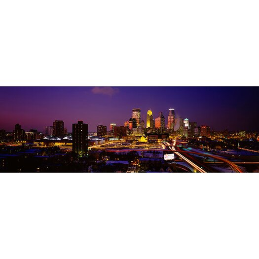 iCanvas Panoramic Skyscrapers Lit up at Dusk, Minneapolis, Minnesota Photographic Print on Canvas