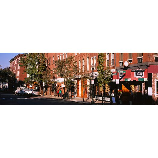 iCanvas Panoramic Stores along a Street, North End, Boston, Massachusetts Photographic Print on Canvas