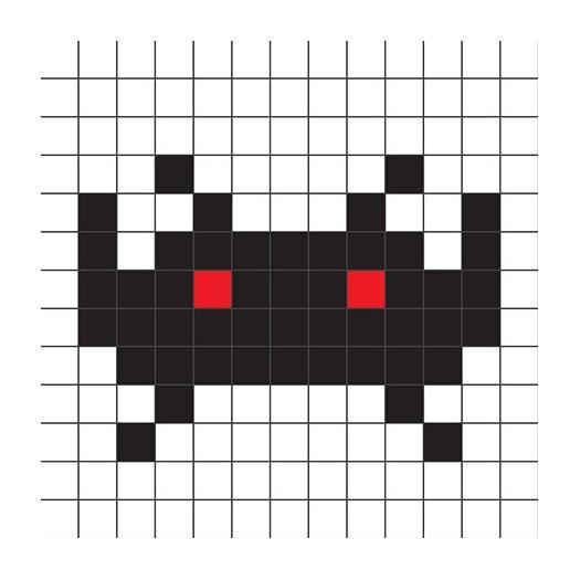 iCanvas Space Invader - Black Tile Art Canvas Wall Art