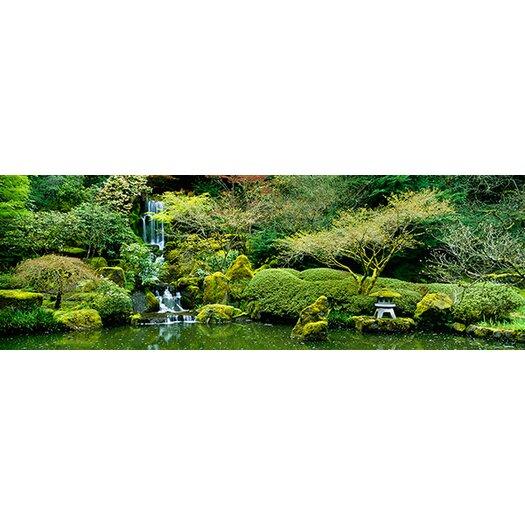 iCanvasArt Panoramic Waterfall in a Garden, Japanese Garden, Washington Park, Portland, Oregon Photographic Print on Canvas