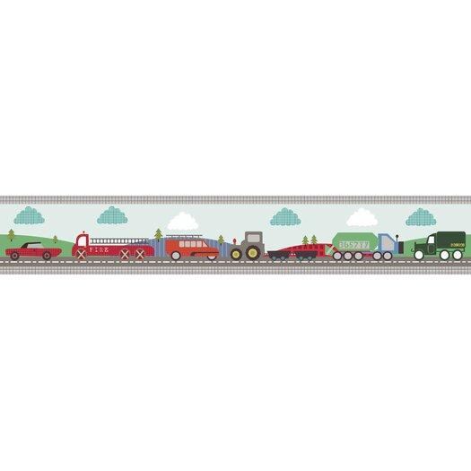 Lemon Ribbon Transportation Medium Roll Wallpaper Border